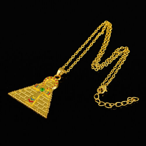 Egyptian Pyramid Ankh Cross Pendants Necklace Gold Silver Plated Vintage Jewelry