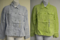 Clearance-jones York Sport Womens Linen Button Down Shirt Jacket-new