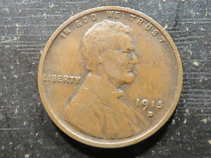 1915 D Denver LINCOLN WHEAT CENT Penny Decent Condition Low Grade