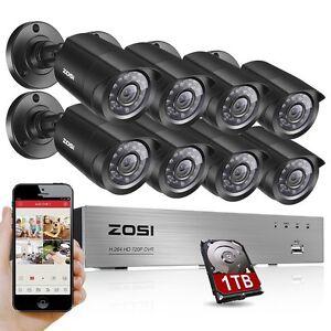 ZOSI 8CH 1500TVL Sistema Cámara DVR 1TB Video Vigilancia CCTV Vision Nocturna IR