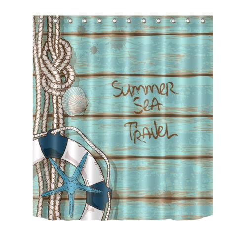 Fairy Tale Mermaid Beach Bathroom Waterproof Fabric Shower Curtain Bath Mat Hook