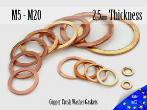 M5-M20-Thick-2-5mm-Metric-Copper-Flat-Ring-Oil-Drain-Plug-Crush-Washer-Gaskets