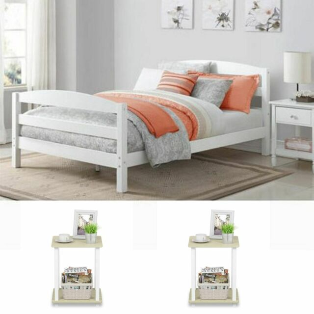 White Full Size Bedroom Set 2 Nightstands Modern Design Furniture Platform  Bed