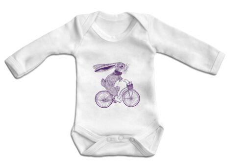 Bunny on Bike One Piece Baby Bodysuit Long Sleeve Baby Onesie 100/% Cotton