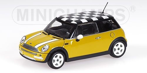 MINI ONE 2001 with Chequered FLAG ROOF YELLOW 1:43 MODEL MINICHAMPS