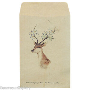 50PCs-Yellow-Painted-Deer-Craft-Paper-Retro-Chic-Leather-Envelopes-16x10-8cm
