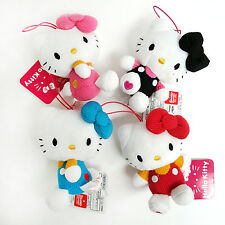 Sanrio Hello Kitty Ribbon Plush Hanging - Assorted Colors 4pc Set (5c87)
