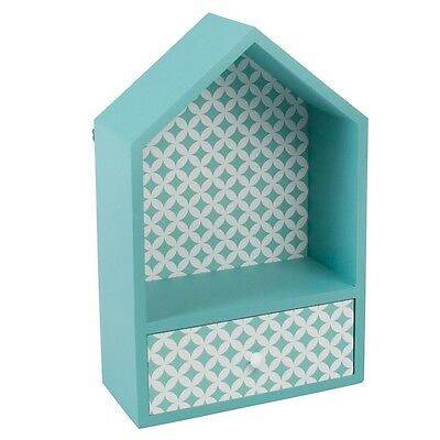 dotcomgiftshop BLUE HOUSE BOX WITH DRAWER WALL HANGING OR FREE STANDING