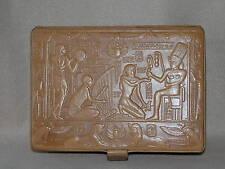 VINTAGE FRENCH? ITALIAN? DESIGNERS LEATHER JEWELLERY BOX EGYPTIAN REVIVAL ARAM