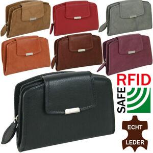 Damen-Echt-Leder-Geldboerse-mit-RFID-Schutz-Portmonee-in-handlicher-Groesse-7Farben
