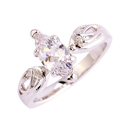Solitare Jewelry Women's Marquise Cut White Topaz Gemstones Silver Ring Size 6 7