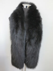 Braid-100-real-fox-fur-scarf-fur-cape-collar-wrap-black-shipping-free