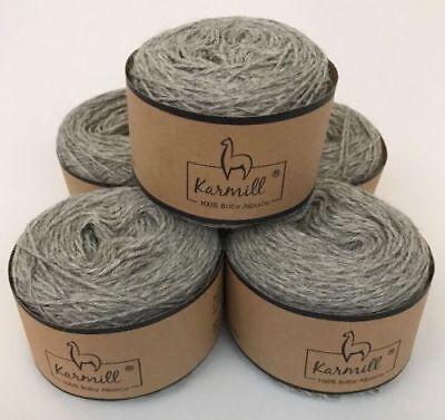 Alpaca Wool Skeins 100/% Baby Alpaca Yarn Lot of 5 Light Gray Color 4010
