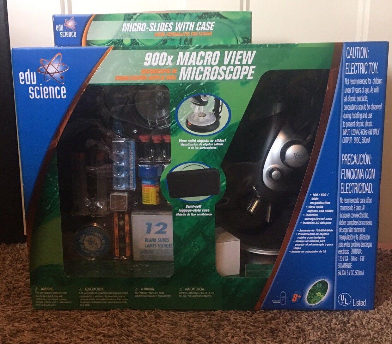 descuento de bajo precio Nuevo Edu Science 900x Macro ver Microscopio Microscopio Microscopio + Extra Micro diapositivas con casos Nuevo en Paquete  barato