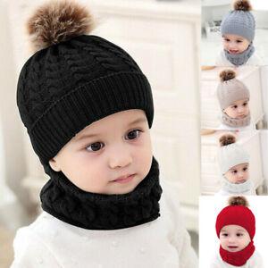 Baby Kids Boy Girl Winter Warm Pom Bobble Hat Knit Beanie Cap Scarf Set Warmer