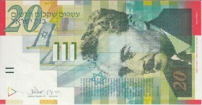 FREE SHIPPING UNC Israel 20 New Sheqalim P-59b 2001