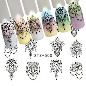 Nail-Art-Water-Decals-Stickers-Transfers-Bows-Necklace-Jewellery-Lace-Gems-500
