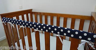 Cot Rail Cover Crib Teething Pad Blue Large Spots x 1