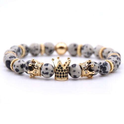 8 mm Double Couronne King Charm Bracelets Hommes Femmes Mat Noir Onyx Pierre Perles