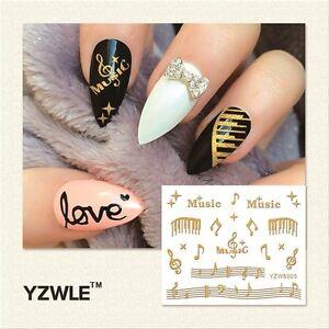 3d Nail Art Stickers Decals Metallic Gold Music Musical Notes Gel