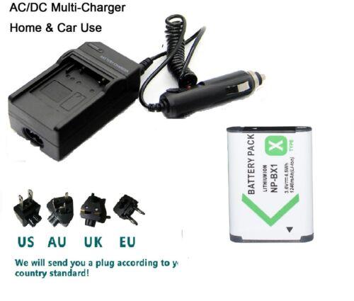 Batería Cargador para SONY NP-BX1 Cybershot HDR AS100 PJ240E HX60V HX400V DSC-RX1r