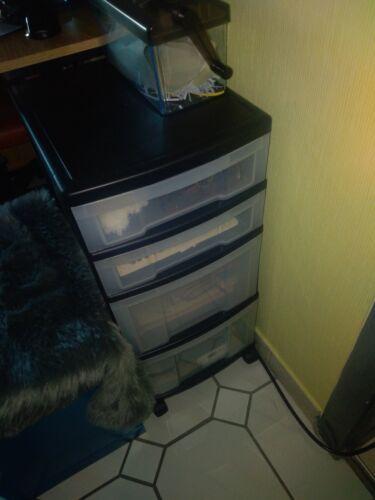 Rollwagen Schubladenkommode Schreibtischwagen silbermetallick