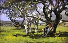 Oil painting theodore robinson - nantucket cowboy man with white horse on canvas