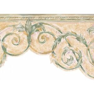 Watercolor-Green-amp-Beige-Scroll-Wallpaper-Border-SI3701-1