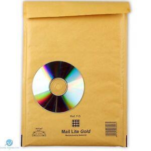 F3 F/3 Gold Brown 220 x 330mm Padded Bubble Wrap Mail Lite Postal Bag Envelopes