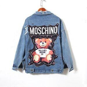 New-MOSCHINO-Text-Teddy-Bear-Safety-Pin-Punk-Rock-Blue-Coat-Veste-DENIM-JACKET