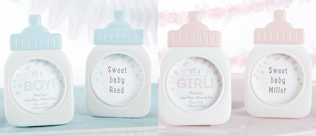 48 Rosa Or Blau Classic Baby Bottle Photo Frame Frame Frame Baby Shower Favors eee130