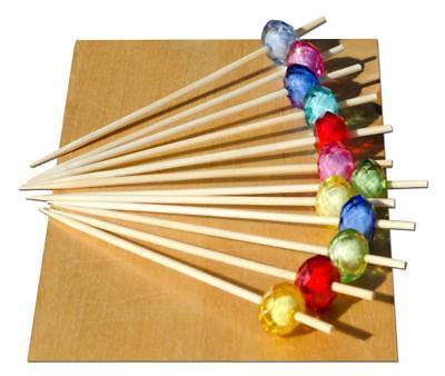 Multi Colore Gioiello Perline Spiedino In Legno 9 Cm X 100-goto- Ricco Di Splendore Poetico E Pittorico
