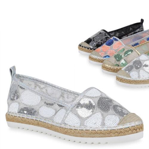 Damen Slipper Espadrilles Slip-Ons Pailletten Bast Freizeitschuhe 896005 Trendy