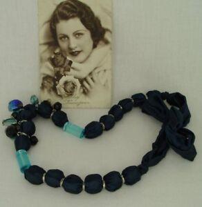 Romantische-Halskette-Glaskugeln-Kunstperlen-Modeschmuck-vintage-Collier-Kette