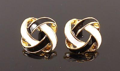 Vintage Retro Black White Gold Woven Fashion Jewellery Stud Earrings