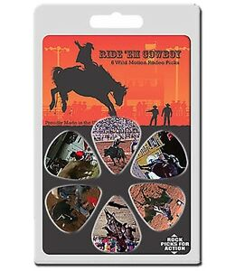 6-Pack-COWBOY-RODEO-HORSE-BULLS-CLOWNS-Medium-Gauge-351-Guitar-Picks-Plectrum