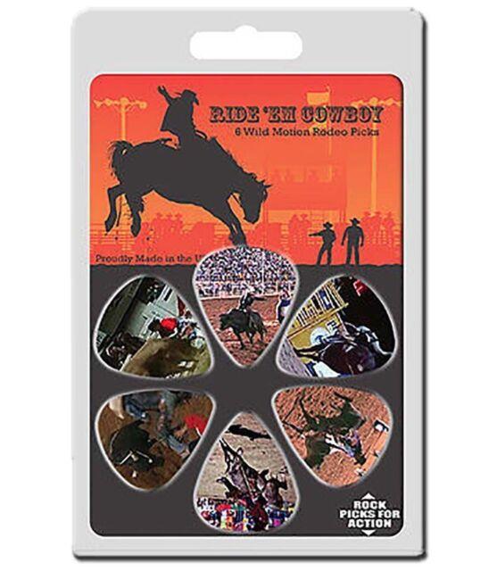 6 Pack Motion Guitar Picks Cowboy Rodeo Horse Bull Bronco