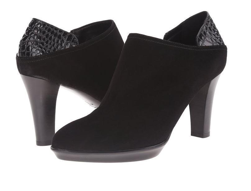 Aquatalia Booties Shoes Boots Black Sz 10 B(M) Italy Suede Leather NIB Weatherpr