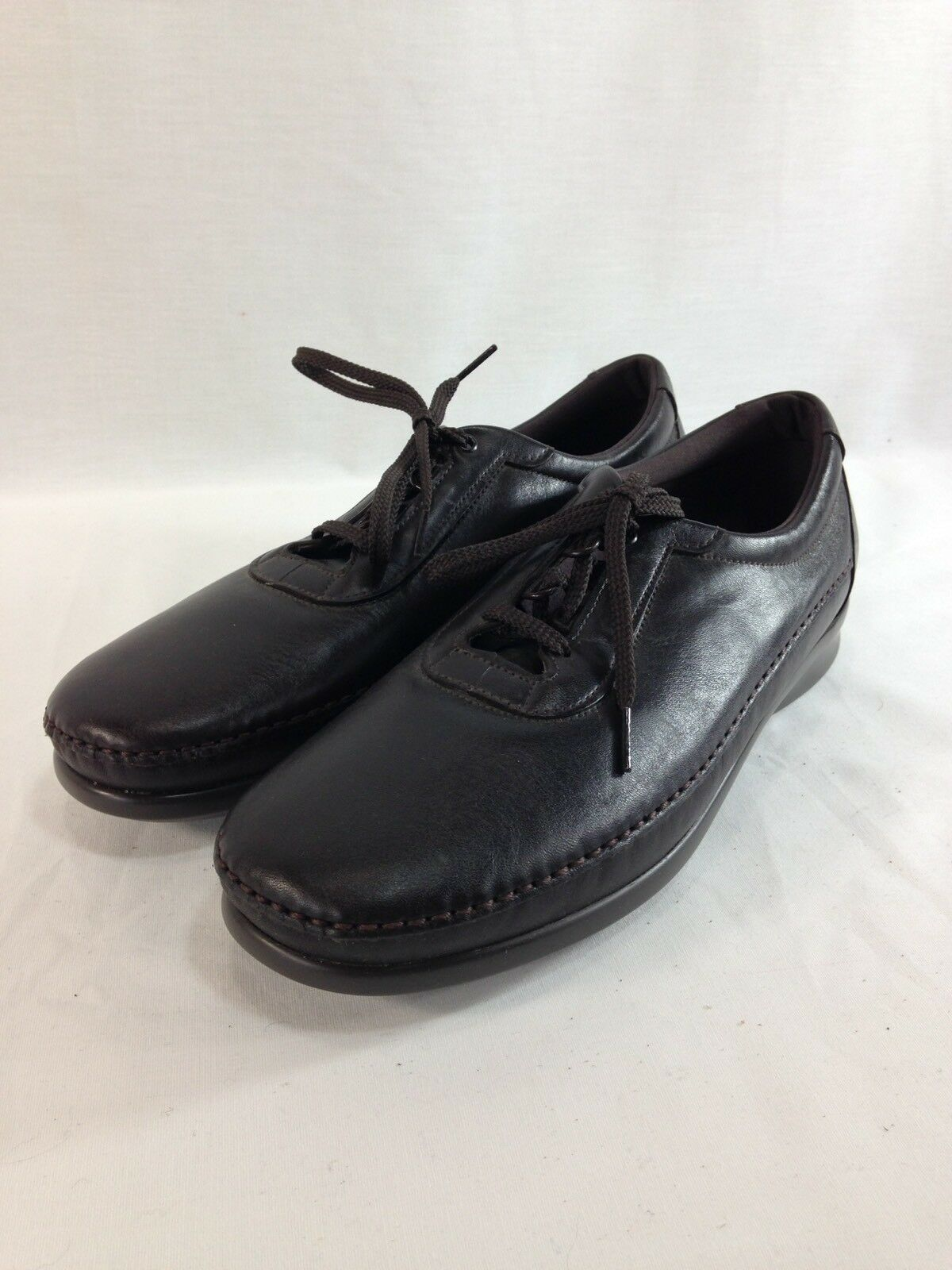 NEW SAS Tripad Comfort shoes Womens 12 N Brown Leather Lace Up Flats Soft Step