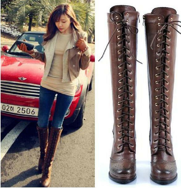 Stylish femmes Leather Brogue Lace Up High Block Heels Over Knee High bottes 2018