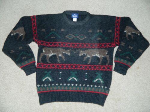 Vtg Mens Woolrich Large 100% Wool Deer Elk Aztec T