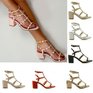 Womens-Ladies-Ankle-Strap-Studded-Sandals-Ladies-Rivet-Block-Heel-Shoes-Size-3-8