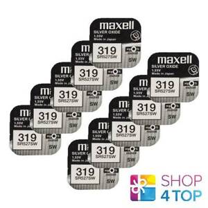 10 MAXELL 319 SR527SW SR64 BATTERIES SILVER 1.55V WATCH BATTERY EXP 2022 NEW