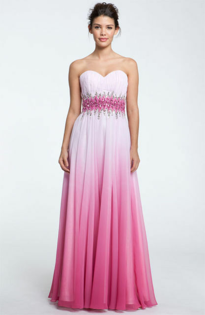 NEW SEAN COLLECTION Beaded Waist Strapless BALL GOWN SIZE 0  PINK OMBRE
