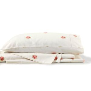 Bianca French Bouquet Flannelette Sheet Set White