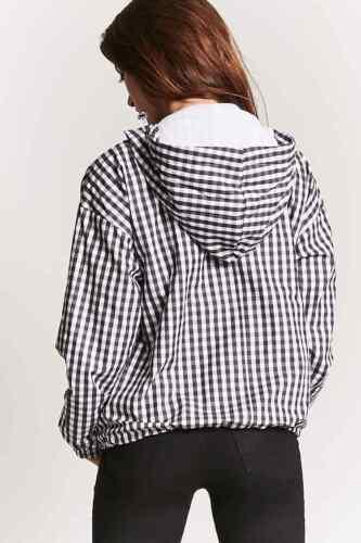 Forever 21 Black White Gingham Hooded Jacket Small S