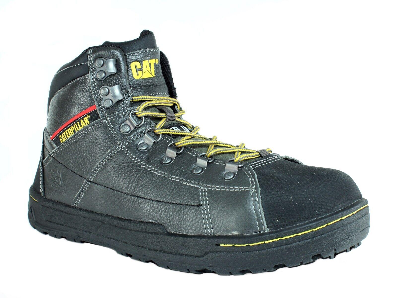 Caterpillar BRODE Hi SG Steel Toe Pour Homme Travail gris Chaussures Cuir Bottes