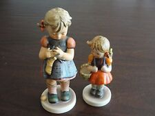 HUMMEL GOEBEL GIRL W/ BASKET + GIRL W/ KNITTING SOCK 255