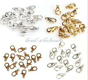 20pcs-Silver-Plated-Gold-Plated-Metal-Lobster-Claw-Findings-DIY-Clasp-10-12mm
