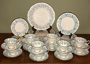 Grosvenor-Debutante-Bone-China-Dinnerware-45-Pc-Set-Tiffany-Blue-Grey-Gray-Plat
